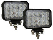 5.9 Inch x 4.8 Inch Rectangular L.E.D. Clear Flood Lights - Pair