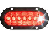 6 Inch Oval LED Tail Light With Cyclops Back-Up Eye - Flange Mount