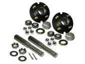 Pair of 4-Bolt On 4 Inch Hub Assembly - Includes (2) 1 Inch Straight Spindles & Bearings