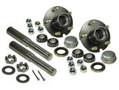 Pair of 5-Bolt On 4-1/2 Inch Hub Assembly - Includes (2) 1-1/16 Inch Straight Spindles & Bearings