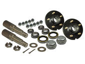 Pair of 5-Bolt on 5 Inch Hub Assembly - Includes (2) 1-3/8 Inch To 1-1/16 Inch Tapered Spindles & Bearings