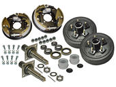 Pair of 5-Bolt on 4-1/2 Inch Hub-Drum Assembly - Includes (2) Flanged, 1-3/8 Inch to 1-1/16 Inch Tapered Spindles & Bearings With Hydraulic Backing Plates