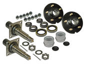 Pair Of 5-Bolt On 5 Inch Hub Assembly - Includes (2) Flanged 1-3/8 Inch to 1-1/16 Inch Tapered Spindles & Bearings