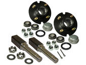 Pair of 4-Bolt On 4 Inch Hub Assembly - Includes (2) Square Shaft 1-1/16 Inch Straight Spindles & Bearings