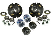 Trailer Hub Assembly - 1 inch I.D. Bearings - With Chrome Bearing Buddies & Bras