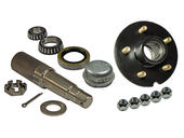 Single- 5-Bolt on 5 Inch Hub Assembly - Includes (1) 1-3/8 Inch To 1-1/16 Inch Tapered Spindle & Bearings