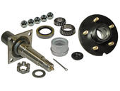 Single - 5-Bolt On 5 Inch Hub Assembly - Includes (1) Flanged 1-3/8 Inch to 1-1/16 Inch Tapered Spindle & Bearings