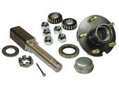 Single - 5-Bolt on 4-1/2 Inch Hub Assembly - Includes (1) Square Stock 1 Inch Straight Spindle & Bearings