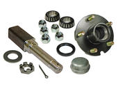 Single - 5-Bolt On 4-1/2 Inch Hub Assembly - Includes (1) Square Shaft 1-1/16 Inch Straight Spindle & Bearings