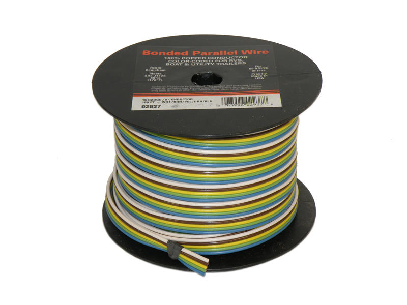 5-Wire Bonded Parallel - Brown/Green/White/Yellow/Blue - 100 Feet