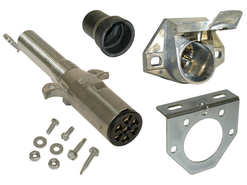 7-Way Round Pin Trailer End & Vehicle End Socket Kit