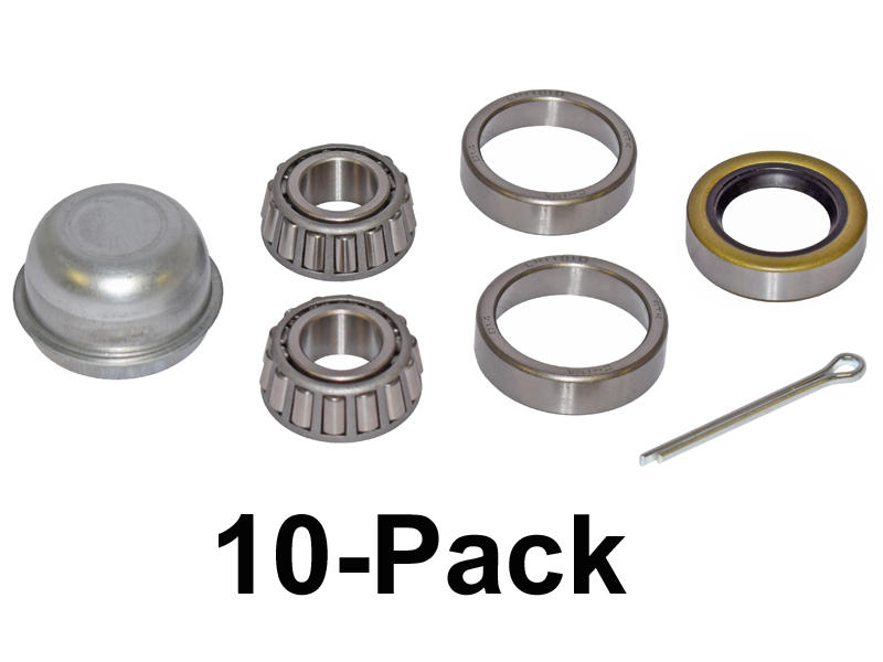 Trailer Bearing Repair Kit For 3/4 Inch Straight Spindle - 10-Pack