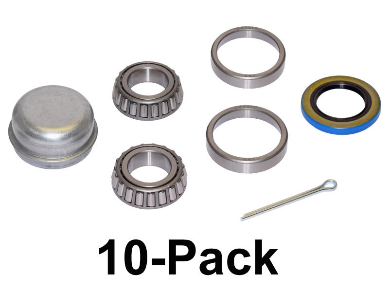 Trailer Bearing Repair Kit For 1 Inch Straight Spindle - 10-Pack