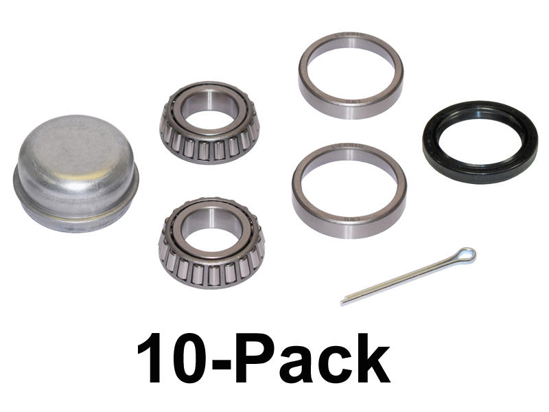Trailer Bearing Repair Kit For 1-1/16 Inch Straight Spindle - 10-Pack