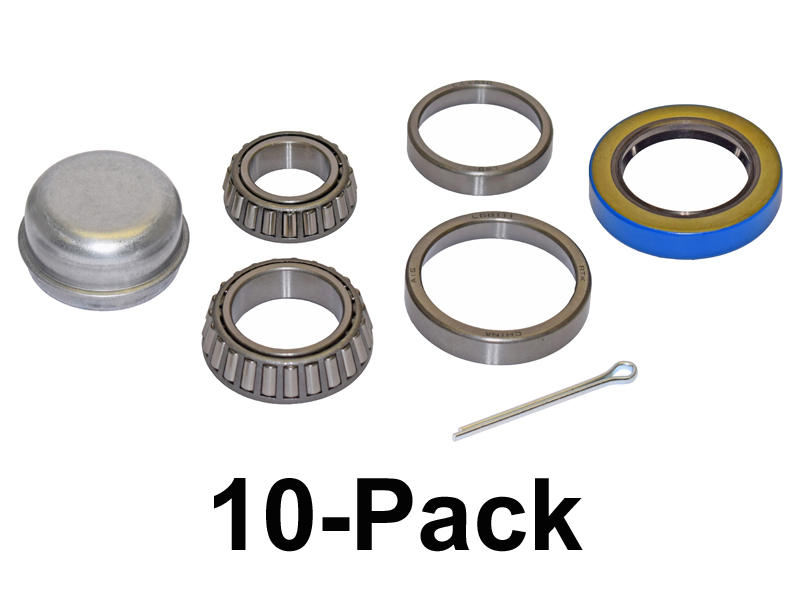 Trailer Bearing Repair Kit For 1-3/8 To 1-1/16 Inch Tapered Spindle - 10-Pack