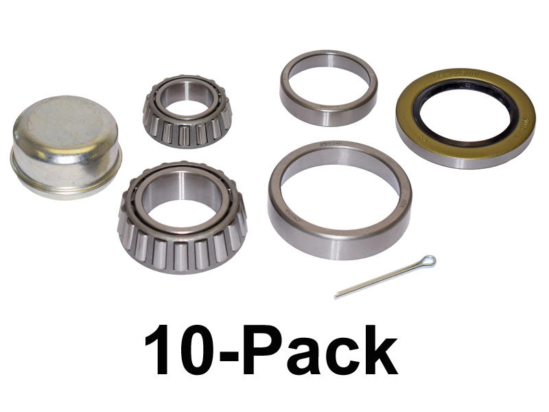 Trailer Bearing Repair Kit For 1-3/4 To 1-1/4 Inch Tapered Spindle - 10-Pack