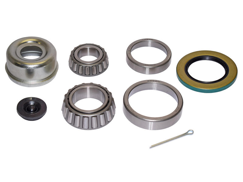 Trailer Bearing Repair Kit For 1-3/4 To 1-1/4 Tapered Spindle - Includes E-Z Lube Cap And Plug