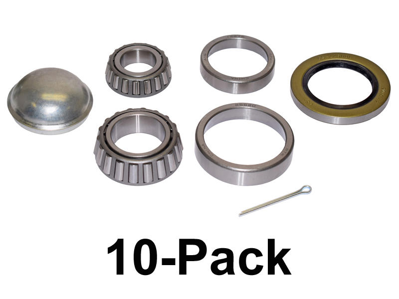 Trailer Bearing Repair Kit For 1-3/4 To 1-1/4 Tapered Spindle - 10-Pack