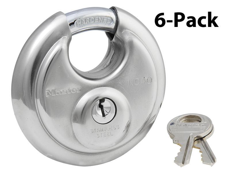 Disk Padlock - 6-Pack Keyed Alike