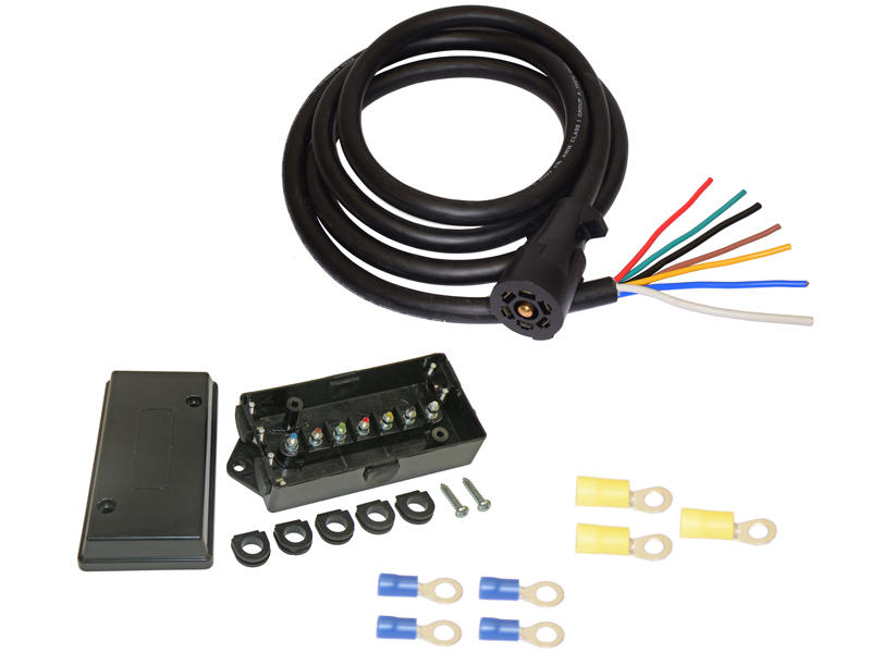 7-Way Plug (8 Ft Length) Cord With 7-way Color Coded Junction Box