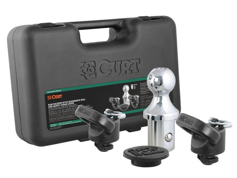 CURT OEM Puck System Gooseneck Ball & Safety Chain Anchor Kit For RAM