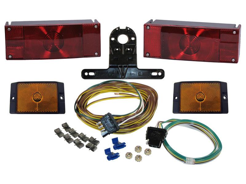 Waterproof Rectangular Trailer Light Kit with Wiring Harness
