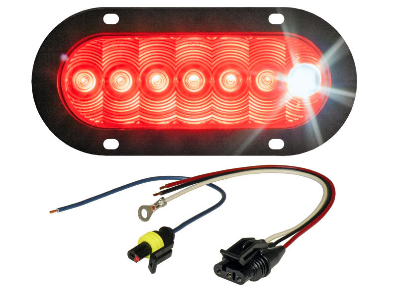 6 Inch Oval LED Tail Light With Cyclops Back-Up Eye - Flange Mount Assembly