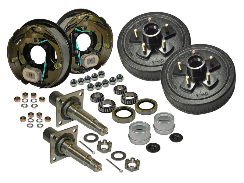 Pair of 5-Bolt on 4-1/2 Inch Hub-Drum Assembly - Includes (2) Flanged, 1-3/8 Inch to 1-1/16 Inch Tapered Spindles & Bearings With Electric Backing Plates