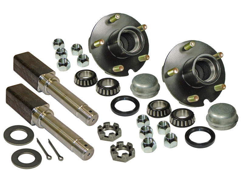 Pair of 5-Bolt On 4-1/2 Inch Hub Assembly - Includes (2) Square Shaft 1-1/16 Inch Straight Spindles & Bearings