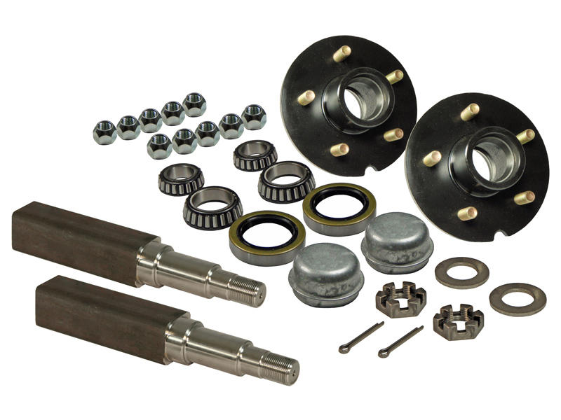 Pair of 5-Bolt on 5 Inch Hub Assembly - Includes (2) Square Stock 1-3/8 Inch To 1-1/16 Inch Tapered Spindles & Bearings
