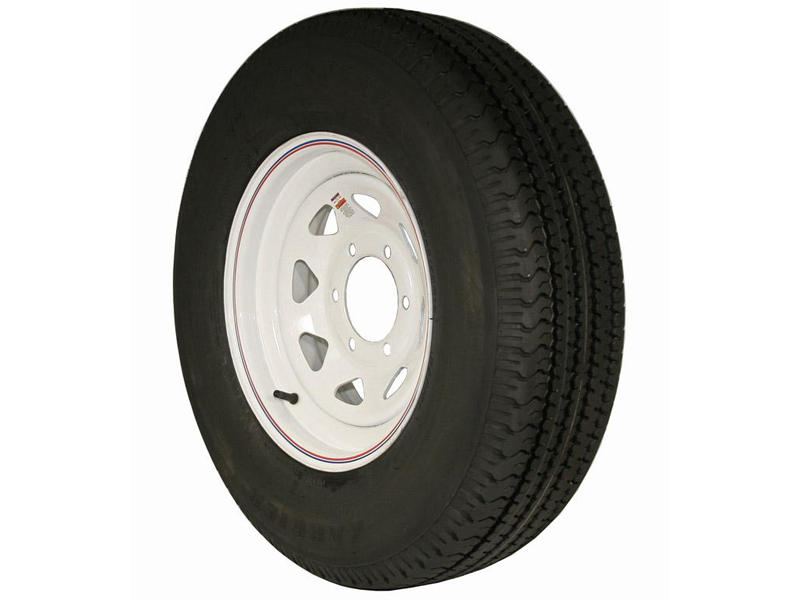 15 inch Trailer Tire and Spoked Wheel Assembly