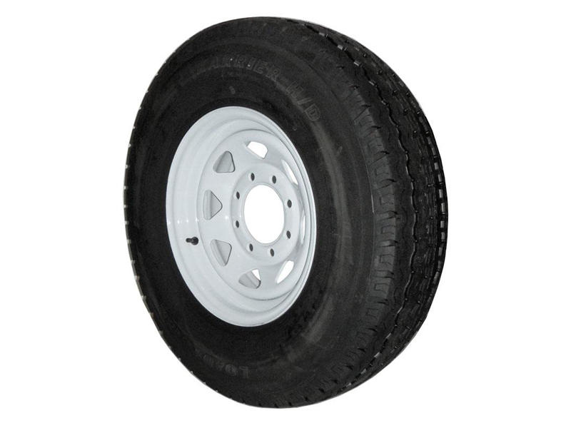 16 inch Trailer Tire and Spoked Wheel Assembly