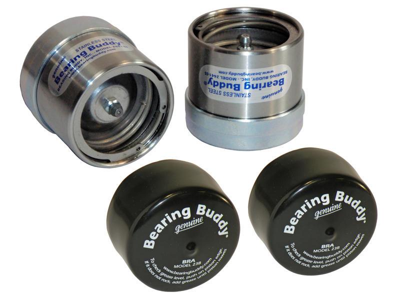 "Bearing Buddy® Stainless Steel Bearing Protectors With Bras - Pair - 2.441"" Diameter"
