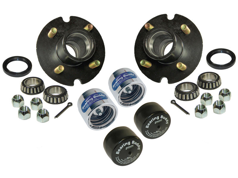 Trailer Hub Assembly - 1-1/16 inch I.D. Bearings - With Chrome Bearing Buddies & Bras