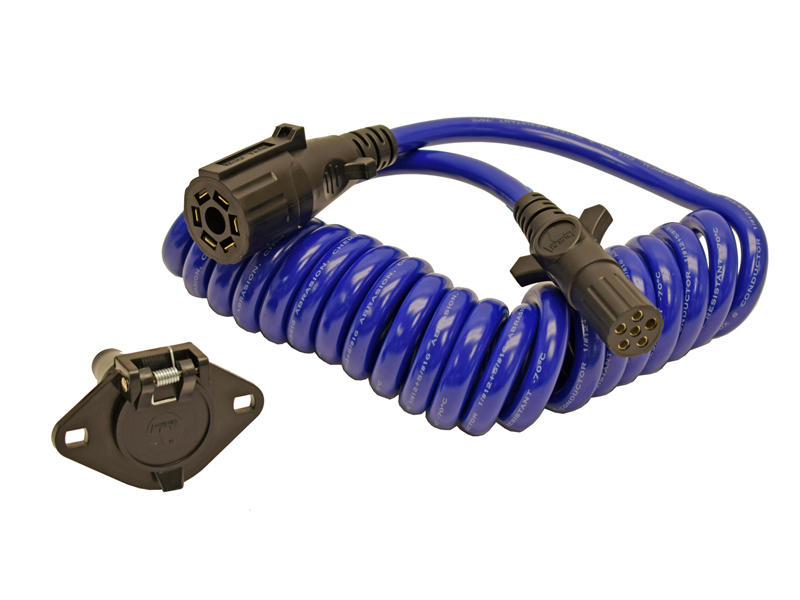 7-Way To 6-Way Coiled Electrical Cable