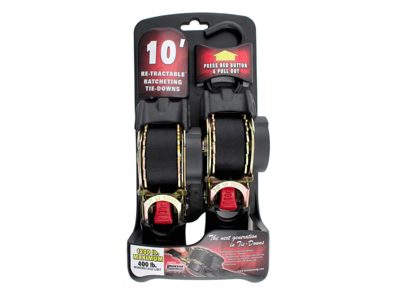 Retractable Ratcheting Tie-Down Straps - Pair