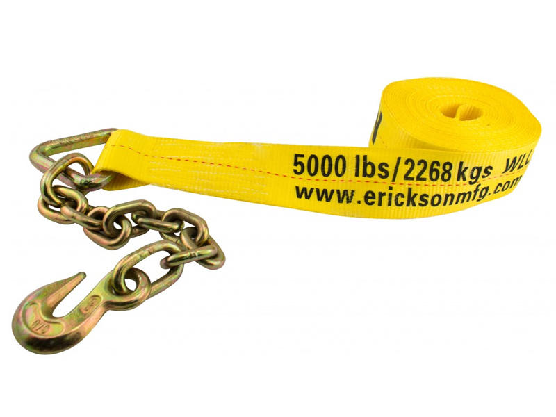 Winch Strap With Chain Lead - 3 inch x 30 feet