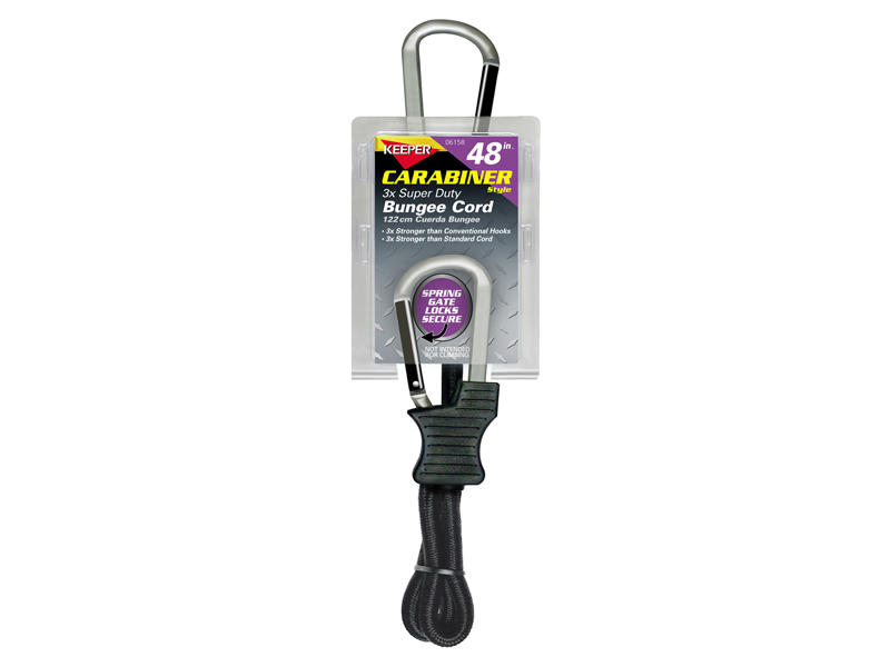 Heavy Duty Carabiner-Style Bungee Cord - 48 Inch