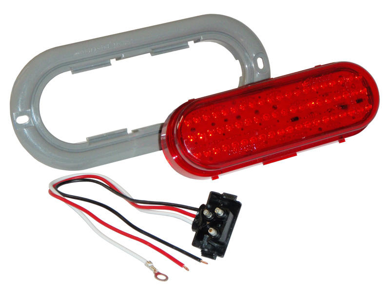 "6"" Oval LED Trailer Tail Light Kit- Red"