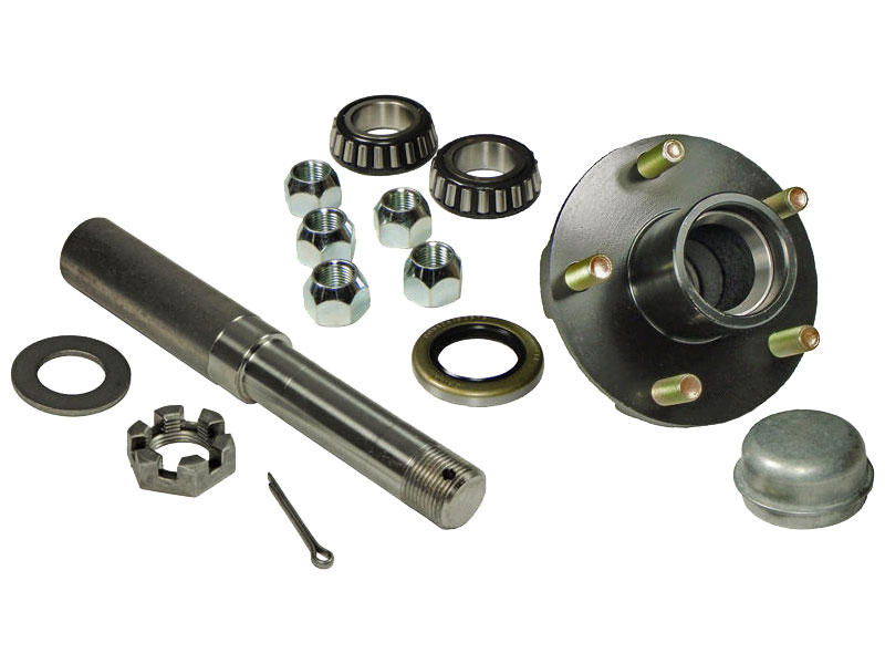 Single - 5-Bolt On 4-1/2 Inch Hub Assembly - Includes (1) 1 Inch Straight Spindle & Bearings