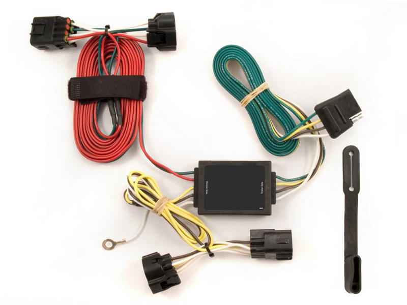 Rigid T-Connector with Powered Tail Light Converter Custom Wiring Harness, 4-Way Flat Output, 2005-2006 Jeep Grand Cherokee