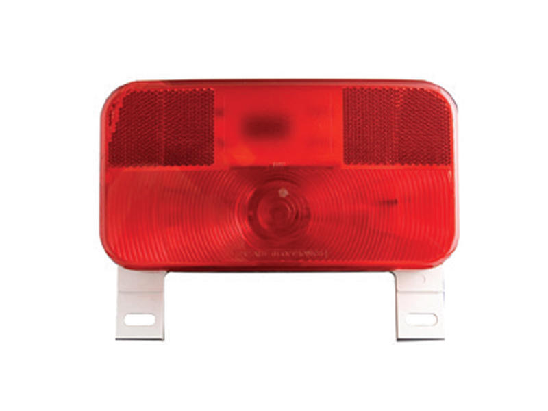 RV Combination Stop/Turn/Tail Light with White Base and License Plate Bracket