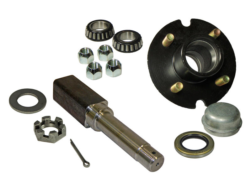 Single - 4-Bolt on 4 Inch Hub Assembly - Includes (1) Square Shaft 1 Inch Straight Spindle & Bearings