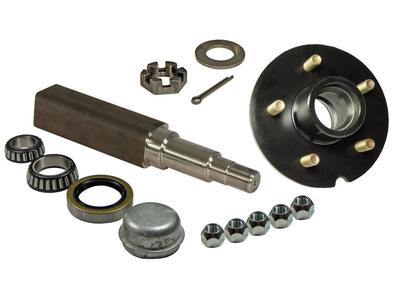 Single - 5-Bolt on 5 Inch Hub Assembly - Includes (1) Square Stock 1-3/8 Inch To 1-1/16 Inch Tapered Spindle & Bearings